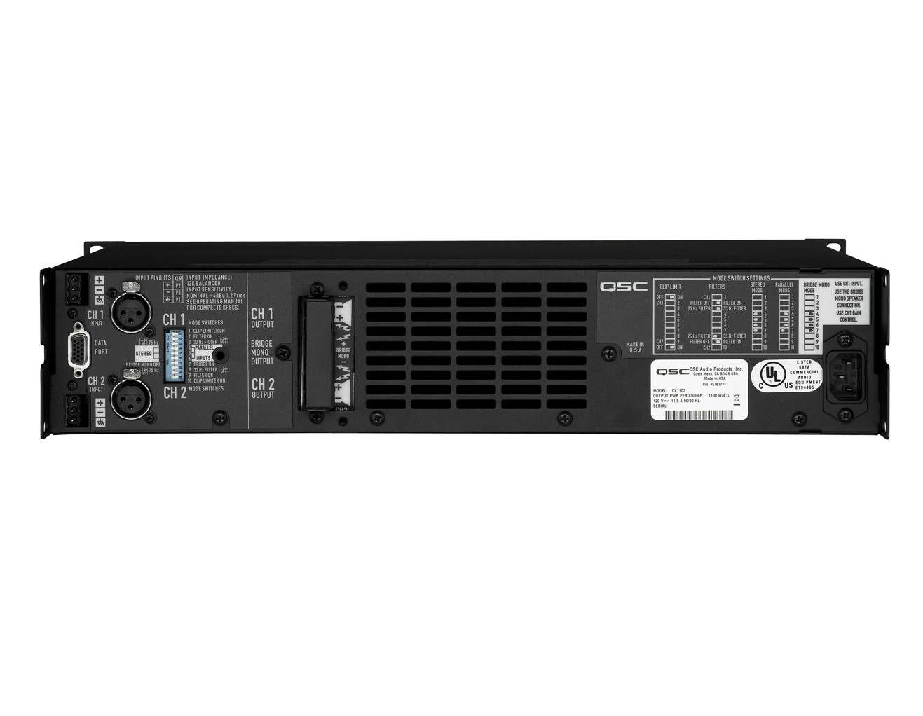 Qsc Cx302 Powerlight Install Amp 2x325w 4ohms 2x6002ohm 2u Bridged Wiring An 26002ohm